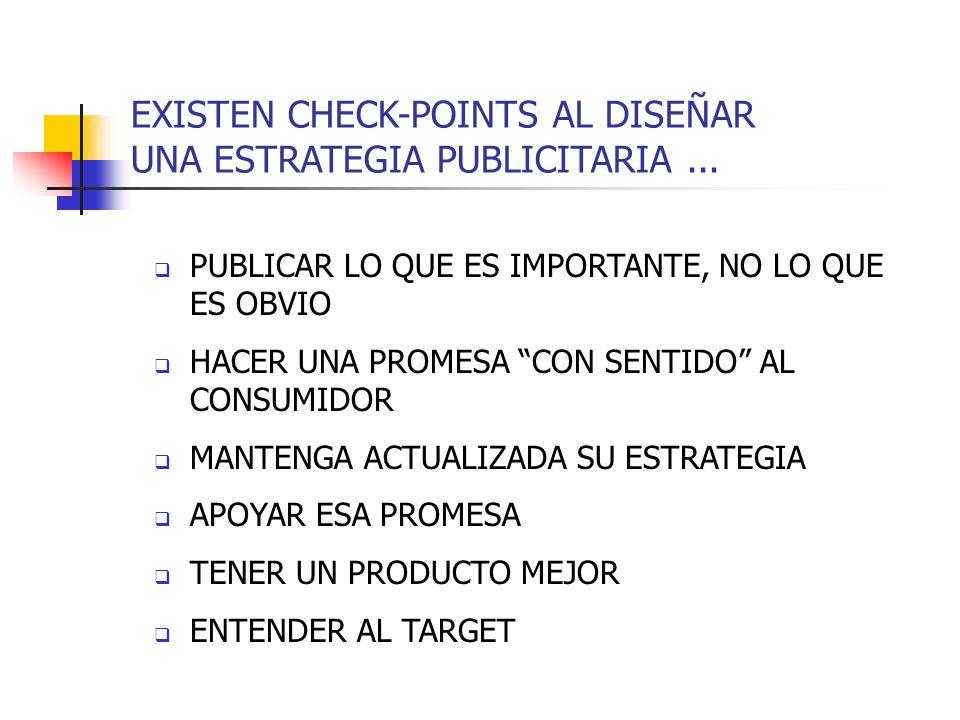 EXISTEN CHECK-POINTS AL DISEÑAR UNA ESTRATEGIA PUBLICITARIA... PUBLICAR LO QUE ES IMPORTANTE, NO LO QUE ES OBVIO HACER UNA PROMESA CON SENTIDO AL CONS