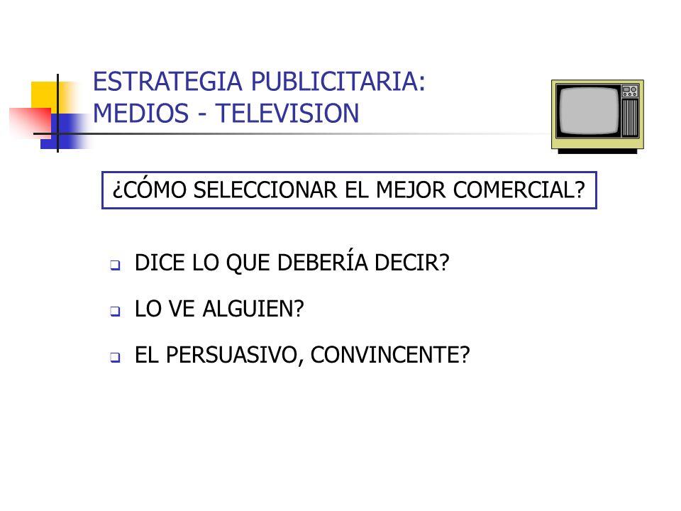 ESTRATEGIA PUBLICITARIA: MEDIOS - TELEVISION DICE LO QUE DEBERÍA DECIR? LO VE ALGUIEN? EL PERSUASIVO, CONVINCENTE? ¿CÓMO SELECCIONAR EL MEJOR COMERCIA
