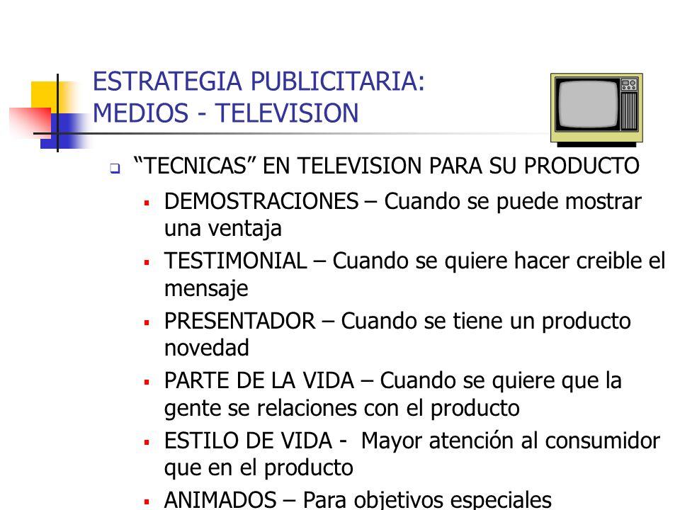 ESTRATEGIA PUBLICITARIA: MEDIOS - TELEVISION TECNICAS EN TELEVISION PARA SU PRODUCTO DEMOSTRACIONES – Cuando se puede mostrar una ventaja TESTIMONIAL