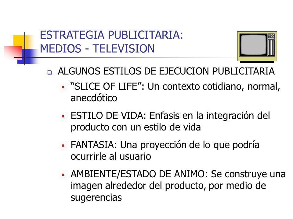 ESTRATEGIA PUBLICITARIA: MEDIOS - TELEVISION ALGUNOS ESTILOS DE EJECUCION PUBLICITARIA SLICE OF LIFE: Un contexto cotidiano, normal, anecdótico ESTILO