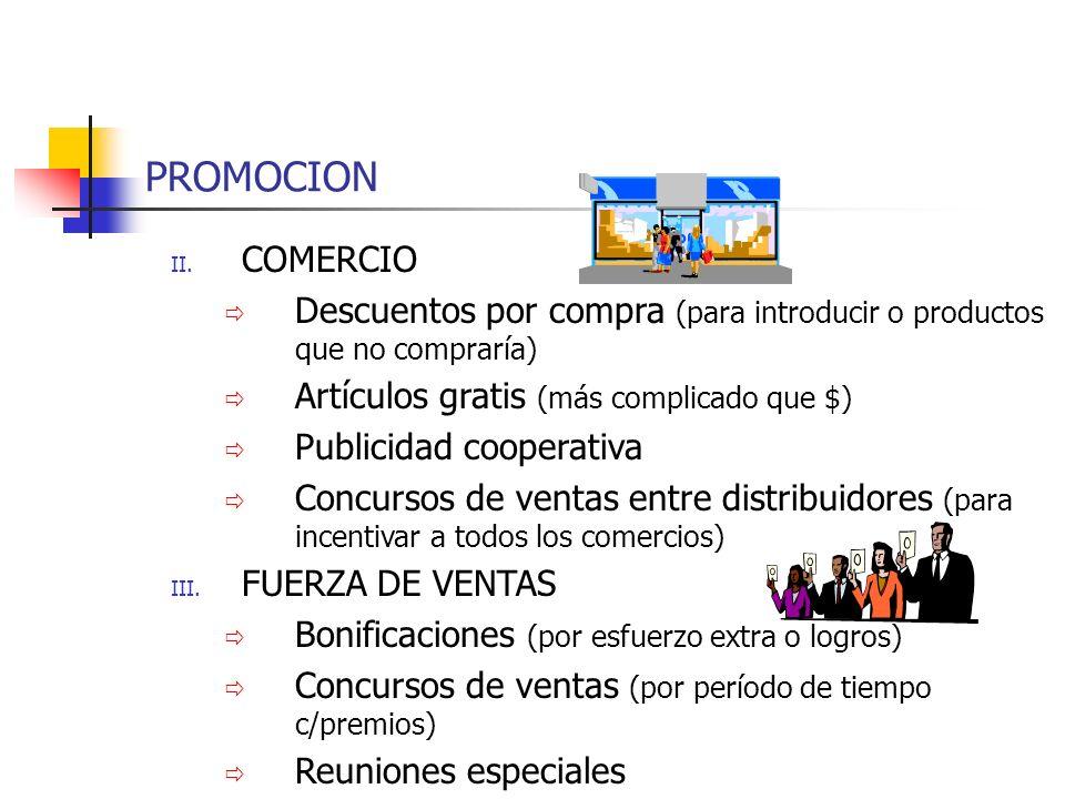 PROMOCION II. COMERCIO Descuentos por compra (para introducir o productos que no compraría) Artículos gratis (más complicado que $) Publicidad coopera