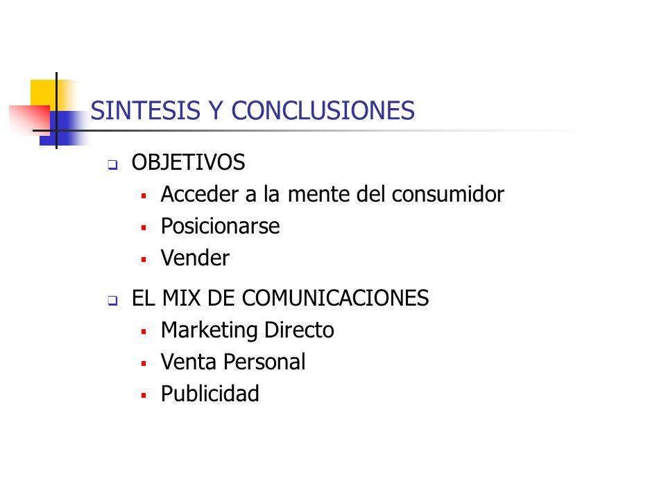 SINTESIS Y CONCLUSIONES OBJETIVOS Acceder a la mente del consumidor Posicionarse Vender EL MIX DE COMUNICACIONES Marketing Directo Venta Personal Publ