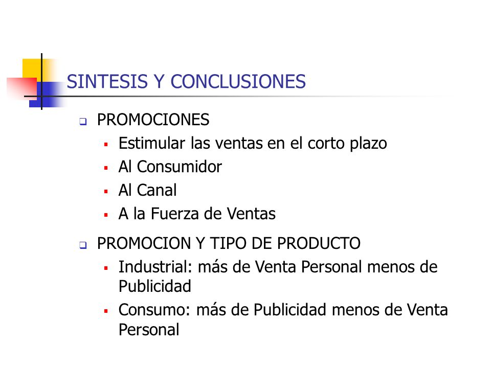 SINTESIS Y CONCLUSIONES PROMOCIONES Estimular las ventas en el corto plazo Al Consumidor Al Canal A la Fuerza de Ventas PROMOCION Y TIPO DE PRODUCTO I