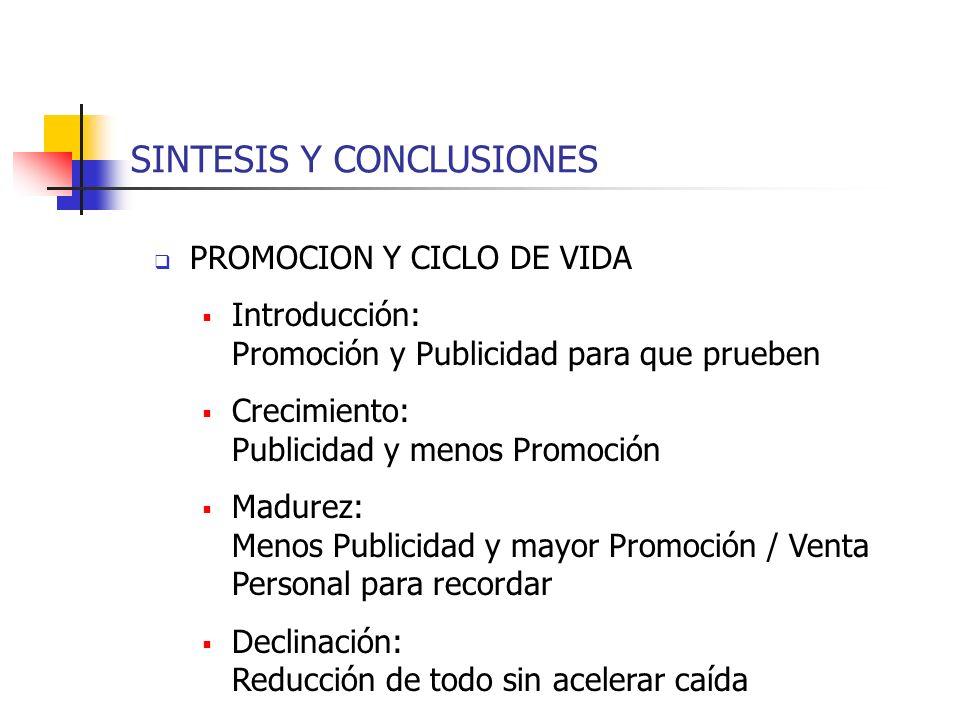 SINTESIS Y CONCLUSIONES PROMOCION Y CICLO DE VIDA Introducción: Promoción y Publicidad para que prueben Crecimiento: Publicidad y menos Promoción Madu