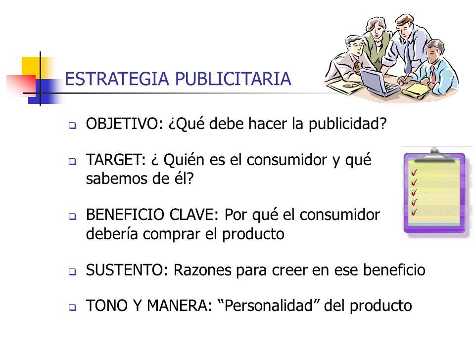 ESTRATEGIA PUBLICITARIA OBJETIVO: ¿Qué debe hacer la publicidad? TARGET: ¿ Quién es el consumidor y qué sabemos de él? BENEFICIO CLAVE: Por qué el con