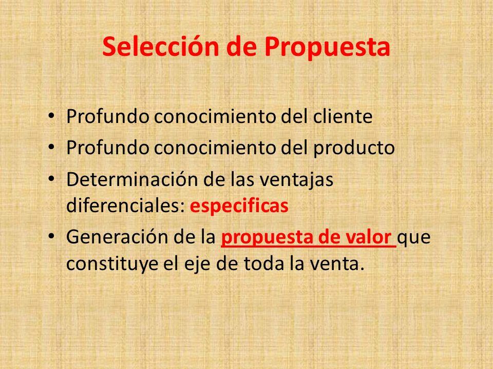 Selección de Propuesta Profundo conocimiento del cliente Profundo conocimiento del producto Determinación de las ventajas diferenciales: especificas G