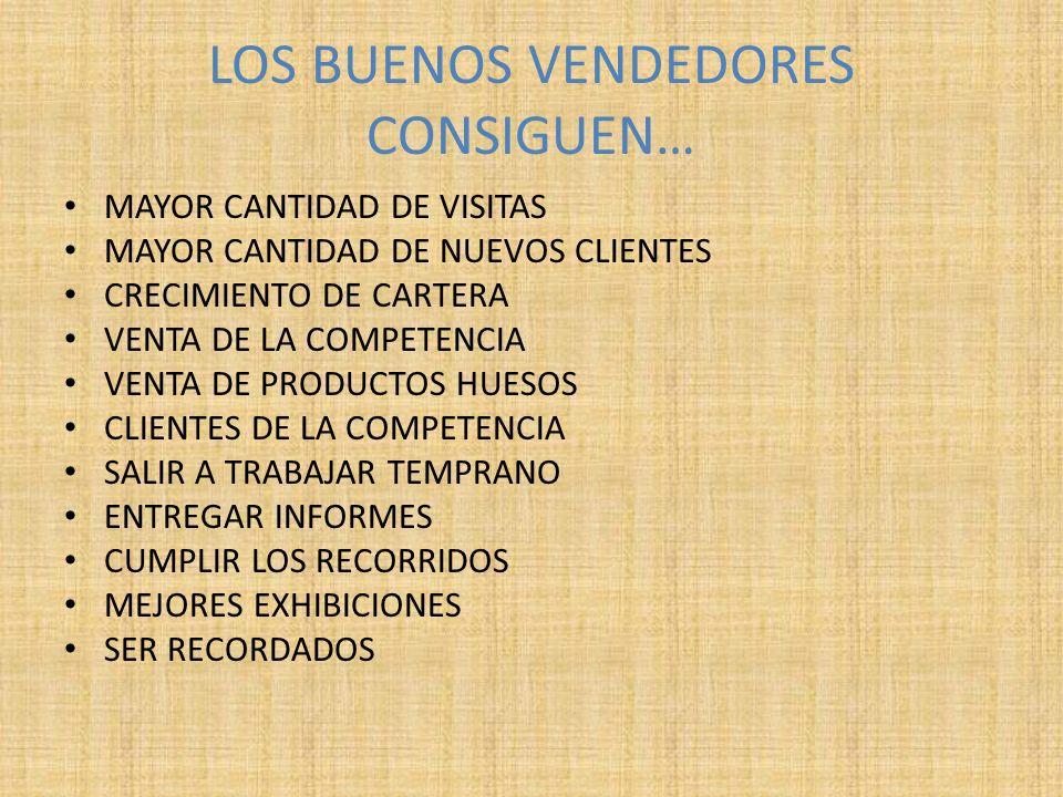 LOS BUENOS VENDEDORES CONSIGUEN… MAYOR CANTIDAD DE VISITAS MAYOR CANTIDAD DE NUEVOS CLIENTES CRECIMIENTO DE CARTERA VENTA DE LA COMPETENCIA VENTA DE P