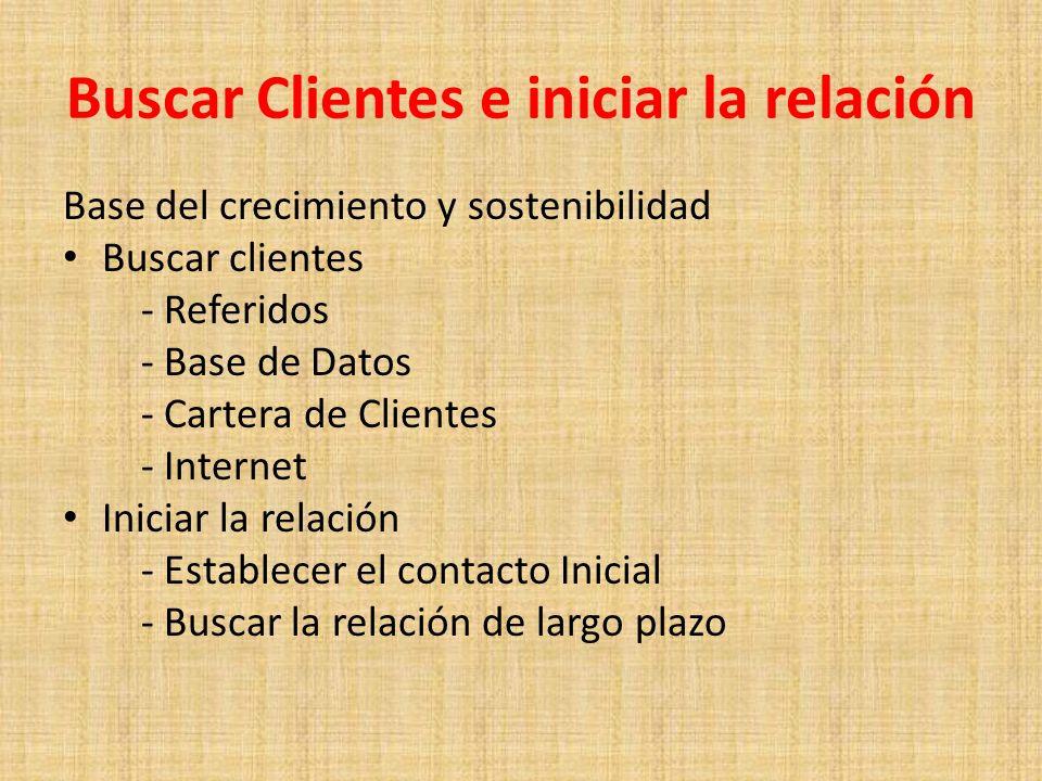 Buscar Clientes e iniciar la relación Base del crecimiento y sostenibilidad Buscar clientes - Referidos - Base de Datos - Cartera de Clientes - Intern