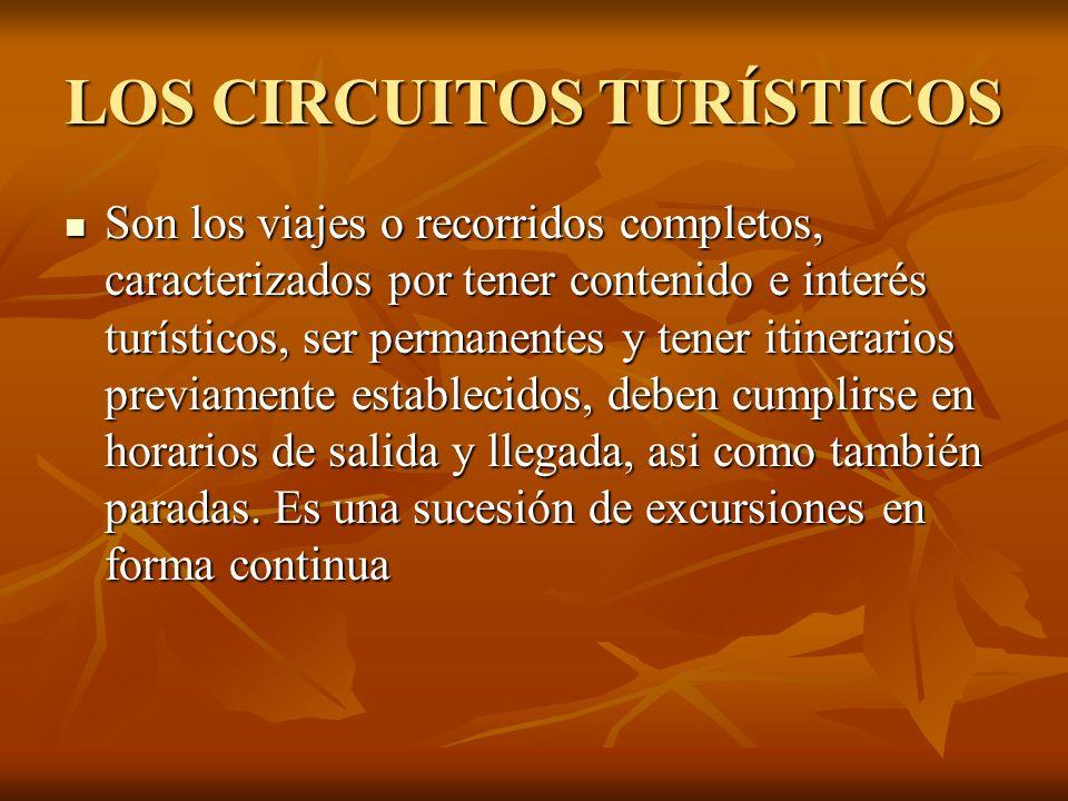 LOS CIRCUITOS TURÍSTICOS Son los viajes o recorridos completos, caracterizados por tener contenido e interés turísticos, ser permanentes y tener itine