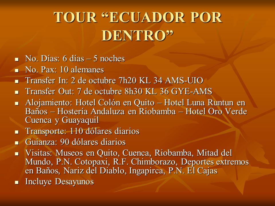 TOUR ECUADOR POR DENTRO No. Días: 6 días – 5 noches No. Días: 6 días – 5 noches No. Pax: 10 alemanes No. Pax: 10 alemanes Transfer In: 2 de octubre 7h