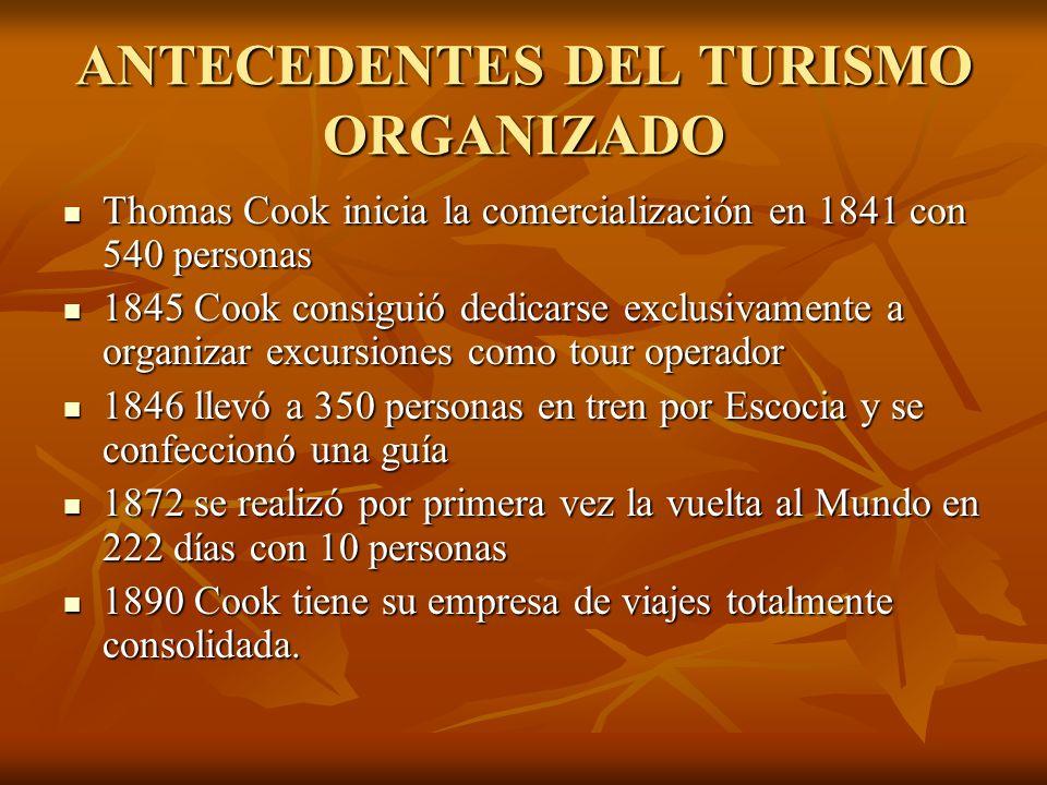 ANTECEDENTES DEL TURISMO ORGANIZADO Thomas Cook inicia la comercialización en 1841 con 540 personas Thomas Cook inicia la comercialización en 1841 con