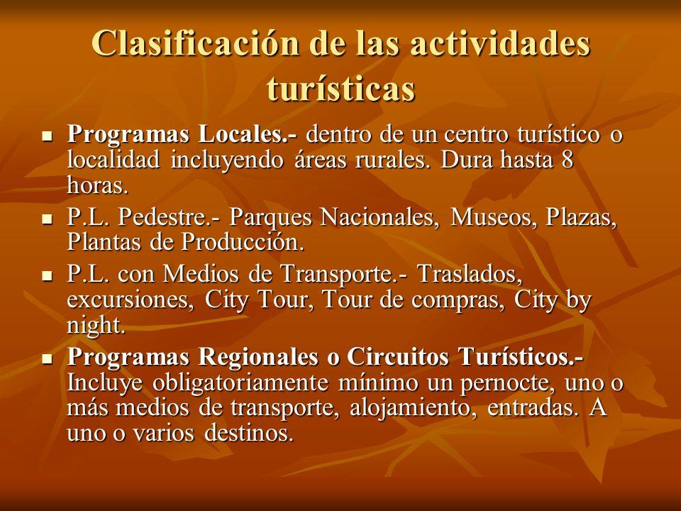 Clasificación de las actividades turísticas Programas Locales.- dentro de un centro turístico o localidad incluyendo áreas rurales. Dura hasta 8 horas