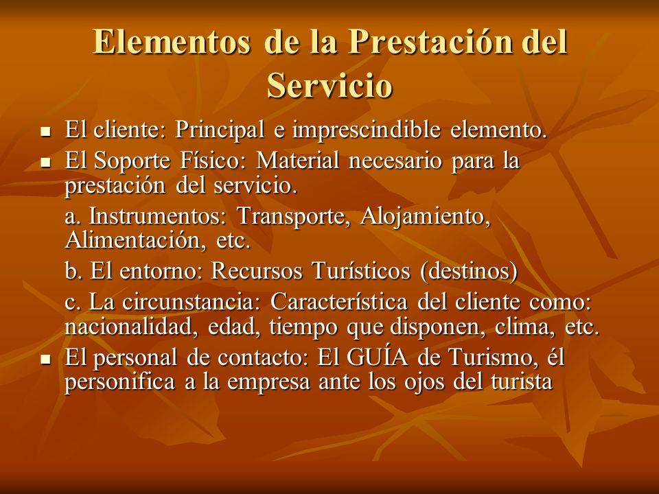 Elementos de la Prestación del Servicio El cliente: Principal e imprescindible elemento. El cliente: Principal e imprescindible elemento. El Soporte F