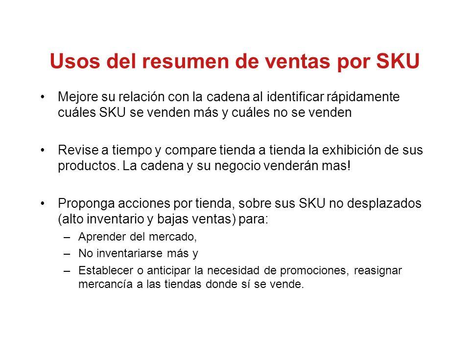 Usos del resumen de ventas por SKU Mejore su relación con la cadena al identificar rápidamente cuáles SKU se venden más y cuáles no se venden Revise a