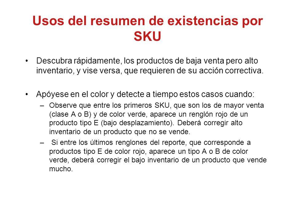 Usos del resumen de existencias por SKU Descubra rápidamente, los productos de baja venta pero alto inventario, y vise versa, que requieren de su acci