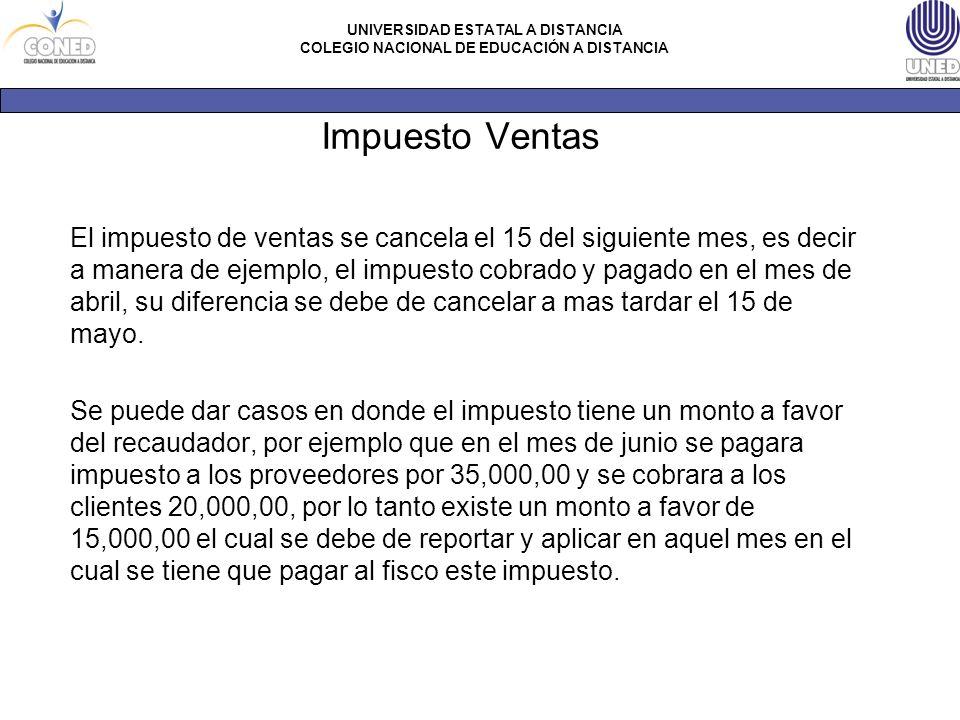 UNIVERSIDAD ESTATAL A DISTANCIA COLEGIO NACIONAL DE EDUCACIÓN A DISTANCIA Impuesto Ventas El impuesto de ventas se cancela el 15 del siguiente mes, es