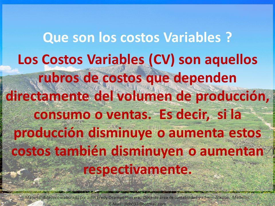 Que son los costos Variables ? Los Costos Variables (CV) son aquellos rubros de costos que dependen directamente del volumen de producción, consumo o