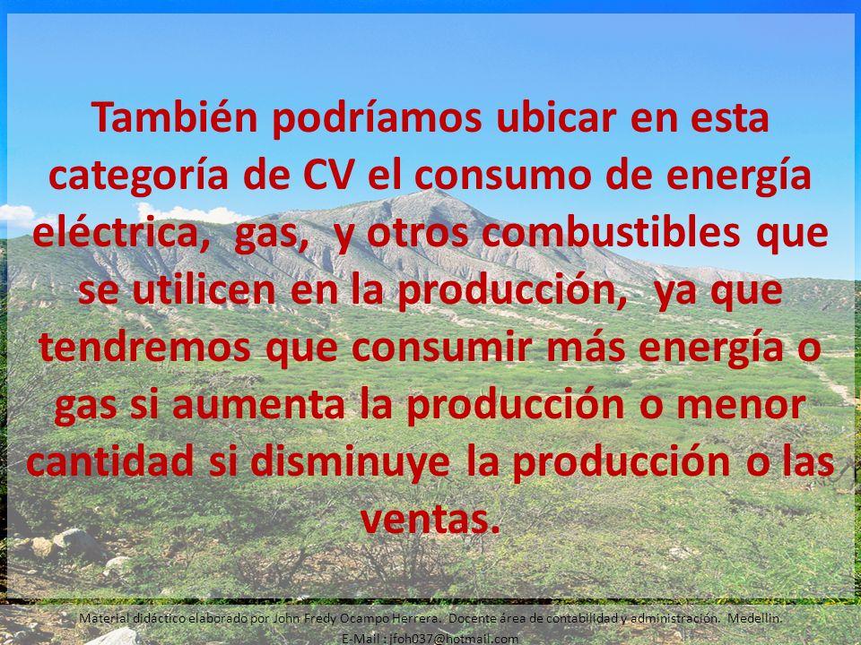 También podríamos ubicar en esta categoría de CV el consumo de energía eléctrica, gas, y otros combustibles que se utilicen en la producción, ya que t