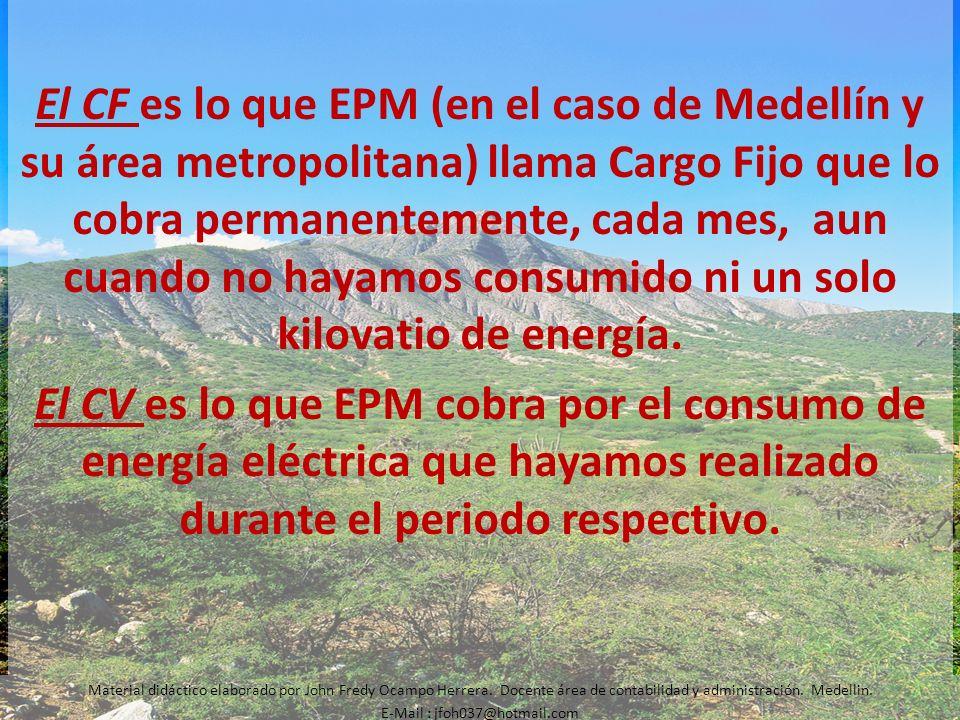 El CF es lo que EPM (en el caso de Medellín y su área metropolitana) llama Cargo Fijo que lo cobra permanentemente, cada mes, aun cuando no hayamos co