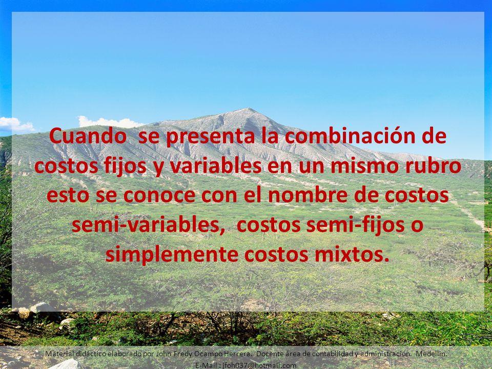Cuando se presenta la combinación de costos fijos y variables en un mismo rubro esto se conoce con el nombre de costos semi-variables, costos semi-fij