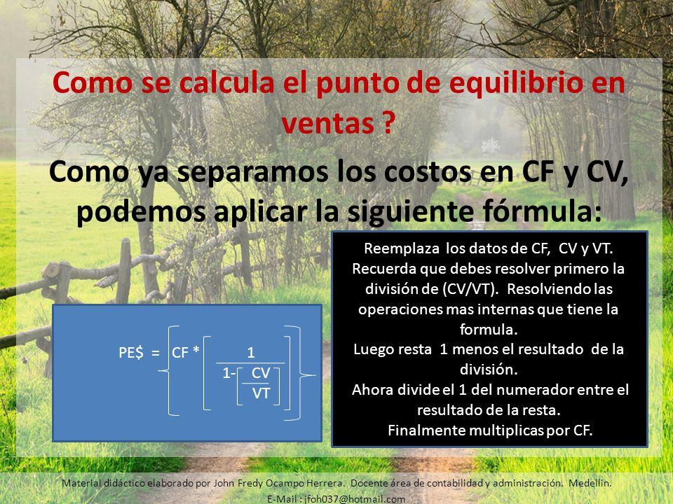 Como se calcula el punto de equilibrio en ventas ? Como ya separamos los costos en CF y CV, podemos aplicar la siguiente fórmula: Material didáctico e