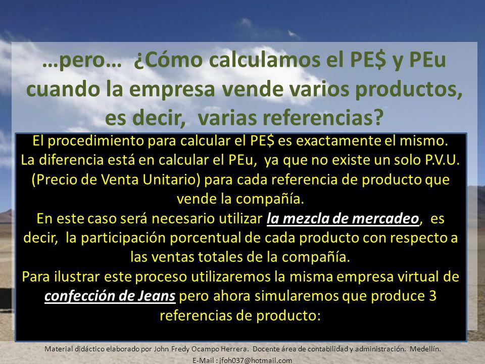 …pero… ¿Cómo calculamos el PE$ y PEu cuando la empresa vende varios productos, es decir, varias referencias? Material didáctico elaborado por John Fre