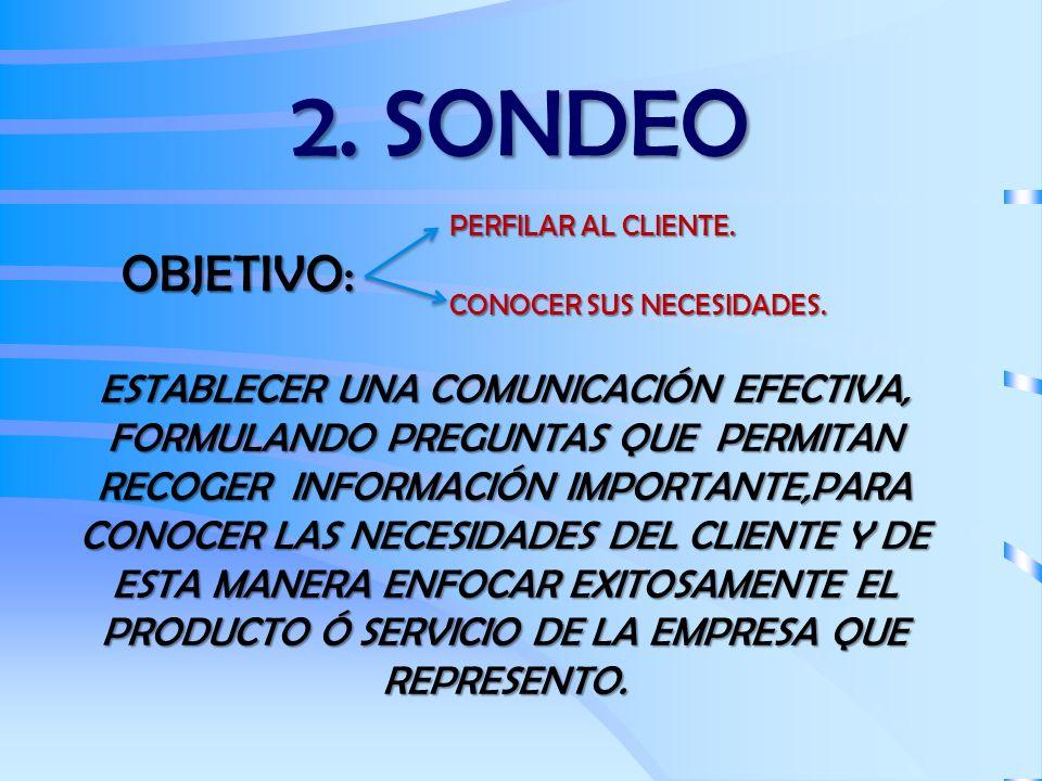 2. SONDEO OBJETIVO: PERFILAR AL CLIENTE. CONOCER SUS NECESIDADES. ESTABLECER UNA COMUNICACIÓN EFECTIVA, FORMULANDO PREGUNTAS QUE PERMITAN RECOGER INFO