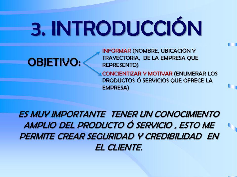 3. INTRODUCCIÓN OBJETIVO: INFORMAR (NOMBRE, UBICACIÓN Y TRAYECTORIA, DE LA EMPRESA QUE REPRESENTO) CONCIENTIZAR Y MOTIVAR (ENUMERAR LOS PRODUCTOS Ó SE