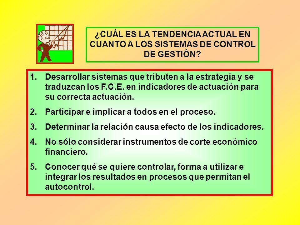 ¿CUÁL ES LA TENDENCIA ACTUAL EN CUANTO A LOS SISTEMAS DE CONTROL DE GESTIÓN? 1.Desarrollar sistemas que tributen a la estrategia y se traduzcan los F.