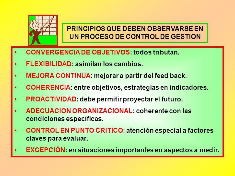 PRINCIPIOS QUE DEBEN OBSERVARSE EN UN PROCESO DE CONTROL DE GESTION CONVERGENCIA DE OBJETIVOS: todos tributan. FLEXIBILIDAD: asimilan los cambios. MEJ