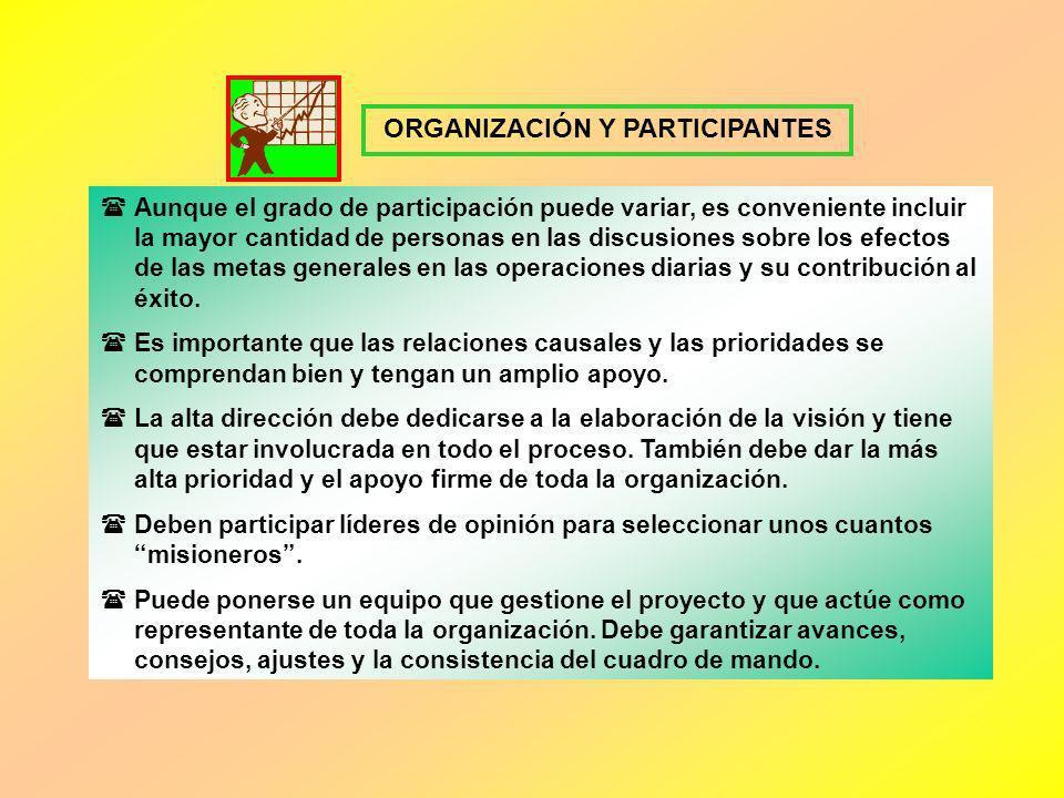 ORGANIZACIÓN Y PARTICIPANTES Aunque el grado de participación puede variar, es conveniente incluir la mayor cantidad de personas en las discusiones so