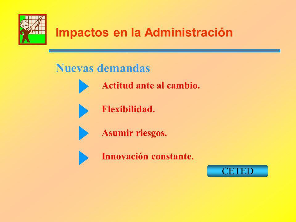 Impactos en la Administración Nuevas demandas Actitud ante al cambio. Flexibilidad. Asumir riesgos. Innovación constante. CETED