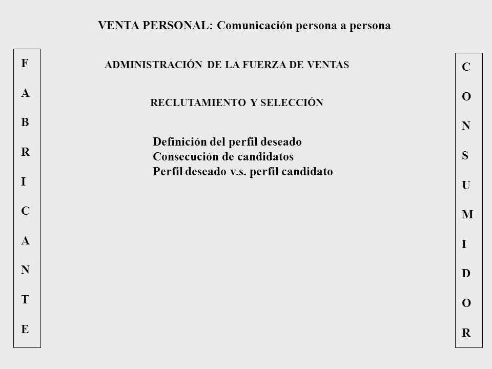 FABRICANTEFABRICANTE CONSUMIDORCONSUMIDOR VENTA PERSONAL: Comunicación persona a persona ADMINISTRACIÓN DE LA FUERZA DE VENTAS RECLUTAMIENTO Y SELECCI