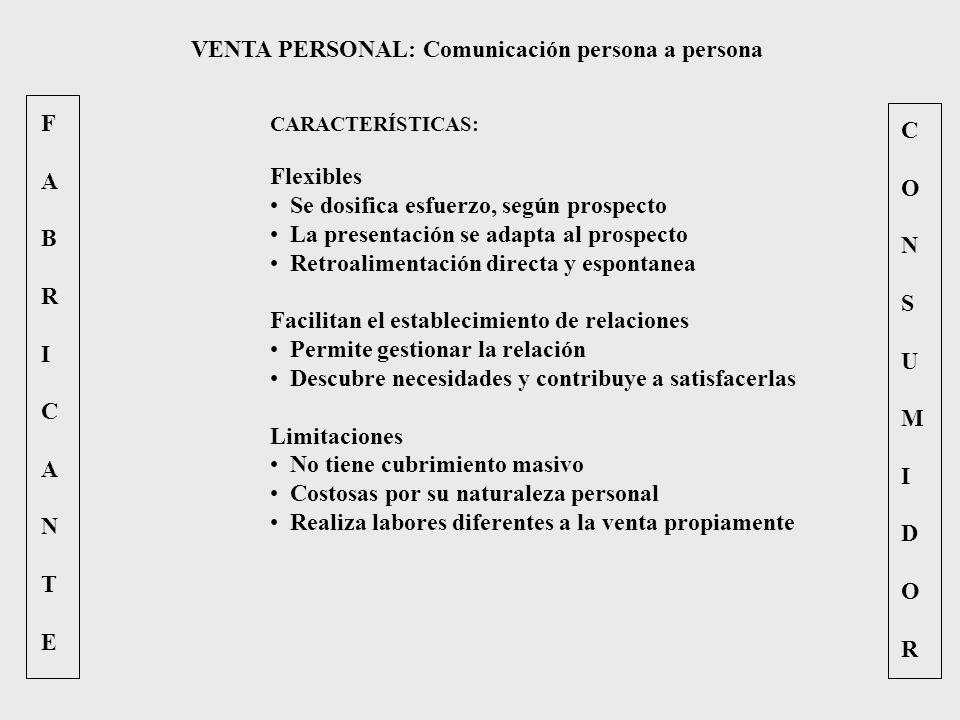 FABRICANTEFABRICANTE CONSUMIDORCONSUMIDOR VENTA PERSONAL: Comunicación persona a persona CARACTERÍSTICAS: Flexibles Se dosifica esfuerzo, según prospe