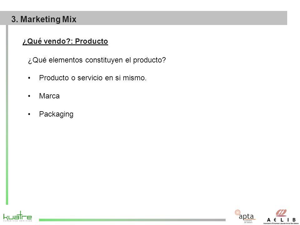 ¿Qué vendo?: Producto ¿Qué elementos constituyen el producto.