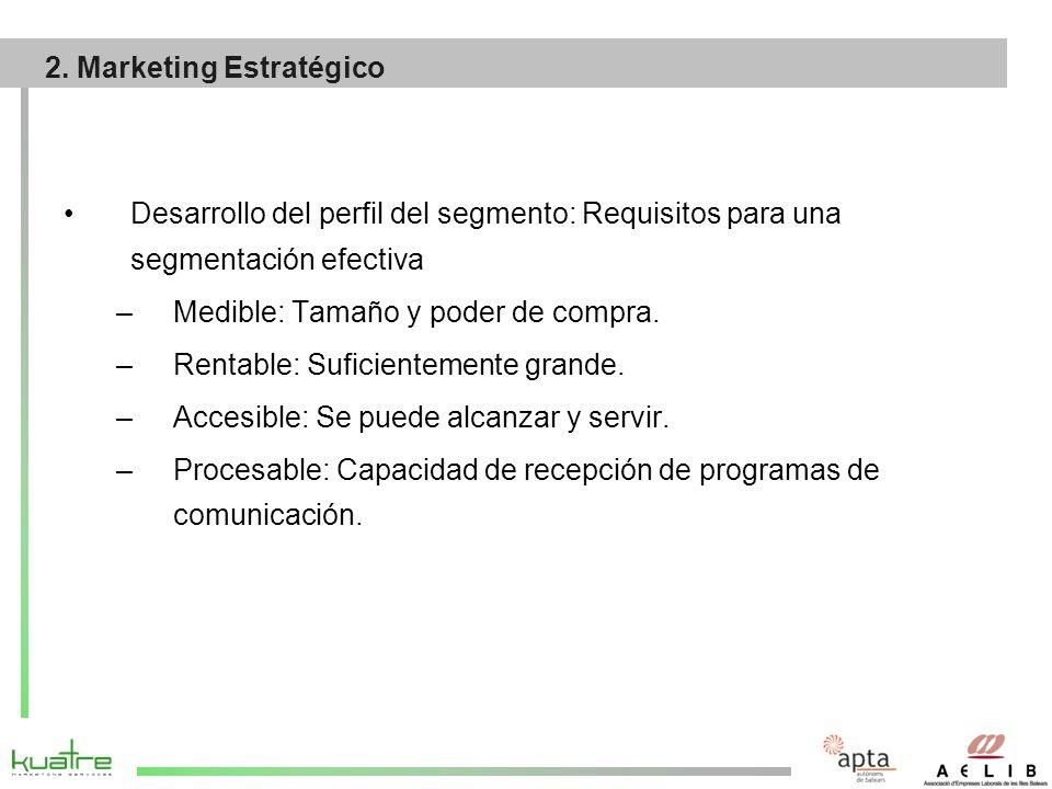 Desarrollo del perfil del segmento: Requisitos para una segmentación efectiva –Medible: Tamaño y poder de compra.