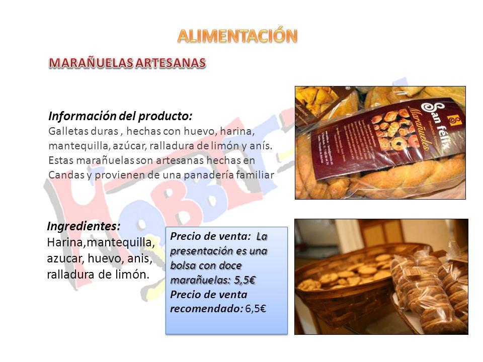 Información del producto: Galletas duras, hechas con huevo, harina, mantequilla, azúcar, ralladura de limón y anís. Estas marañuelas son artesanas hec