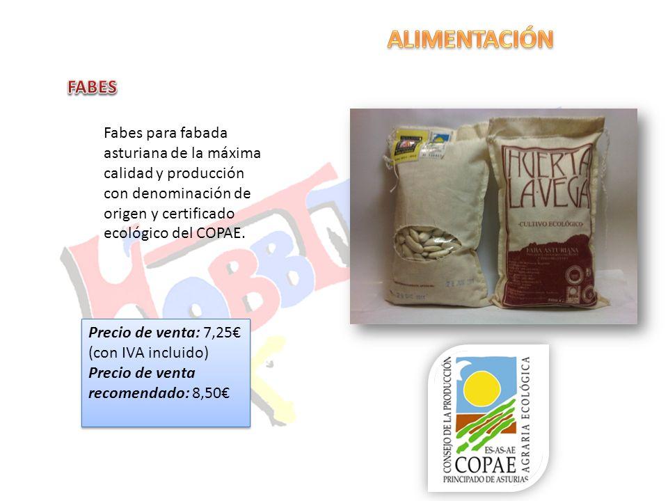 Fabes para fabada asturiana de la máxima calidad y producción con denominación de origen y certificado ecológico del COPAE. Precio de venta: 7,25 (con