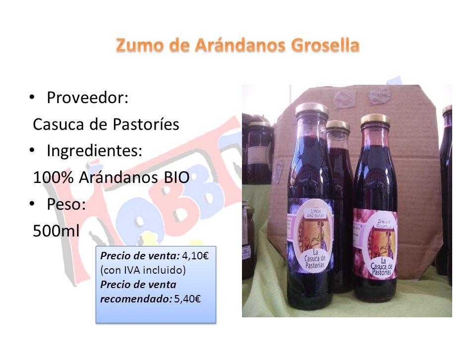 Proveedor: Casuca de Pastoríes Ingredientes: 100% Arándanos BIO Peso: 500ml Precio de venta: 4,10 (con IVA incluido) Precio de venta recomendado: 5,40