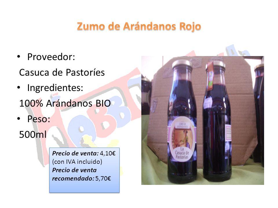 Proveedor: Casuca de Pastoríes Ingredientes: 100% Arándanos BIO Peso: 500ml Precio de venta: 4,10 (con IVA incluido) Precio de venta recomendado: 5,70