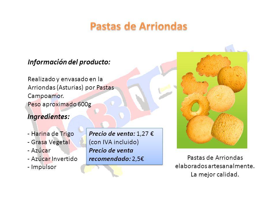 Pastas de Arriondas elaborados artesanalmente. La mejor calidad. Información del producto: Realizado y envasado en la Arriondas (Asturias) por Pastas