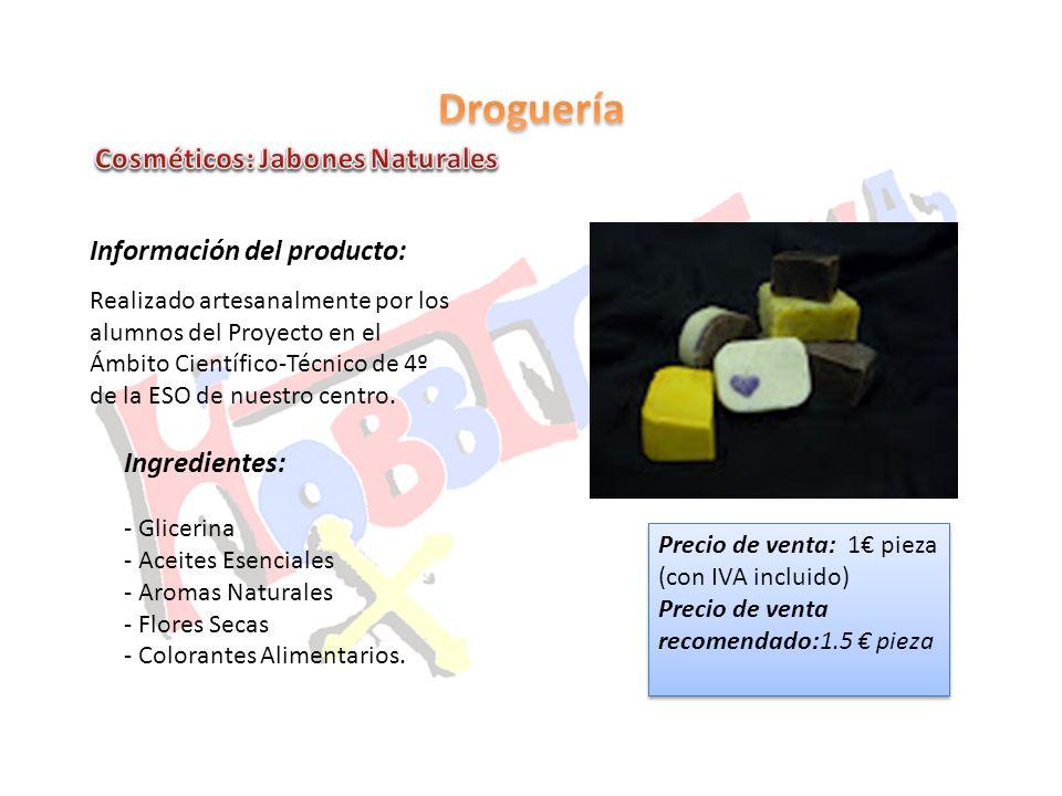 Información del producto: Realizado artesanalmente por los alumnos del Proyecto en el Ámbito Científico-Técnico de 4º de la ESO de nuestro centro. Ing