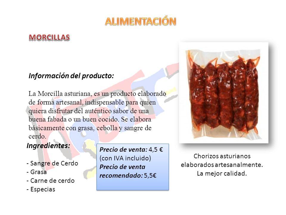 Chorizos asturianos elaborados artesanalmente. La mejor calidad. Información del producto: La Morcilla asturiana, es un producto elaborado de forma ar