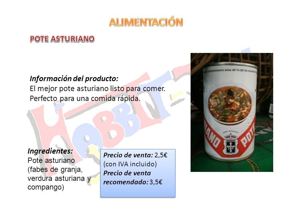 Información del producto: El mejor pote asturiano listo para comer. Perfecto para una comida rápida. Precio de venta: 2,5 (con IVA incluido) Precio de