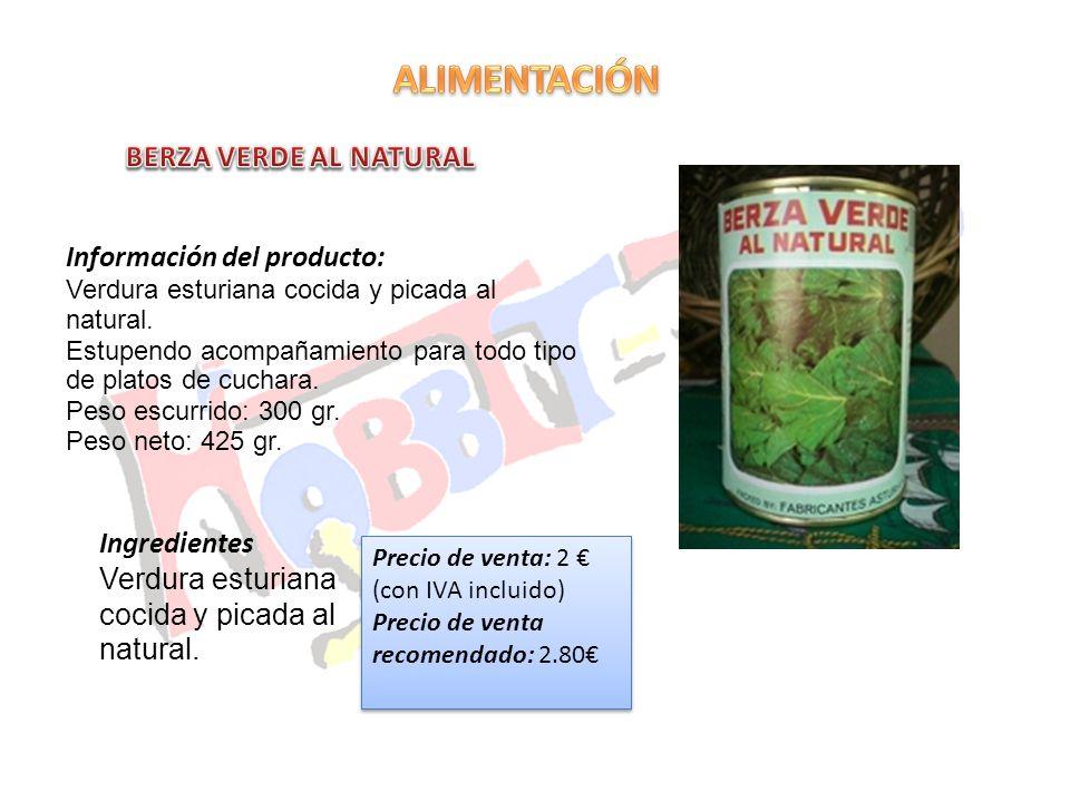 Información del producto: Verdura esturiana cocida y picada al natural. Estupendo acompañamiento para todo tipo de platos de cuchara. Peso escurrido: