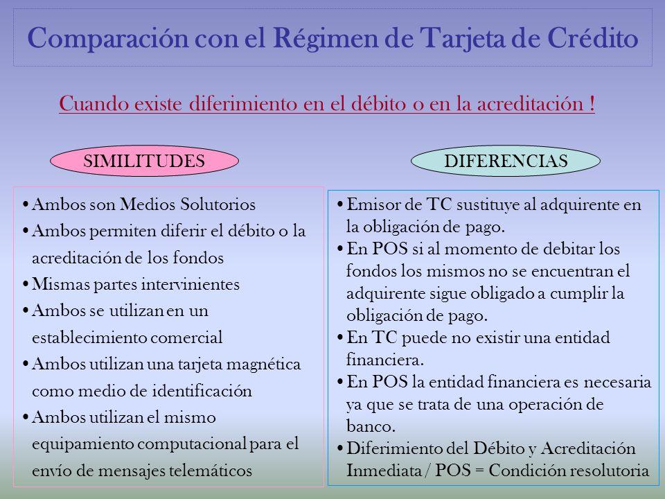 Comparación con el Régimen de Tarjeta de Crédito Cuando existe diferimiento en el débito o en la acreditación ! SIMILITUDESDIFERENCIAS Ambos son Medio