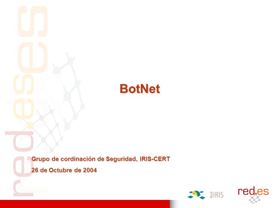 Bot funcionando Víctima Servidor IRC Compromiso vía botnet (III) 1)Vía IRC el atacante cambia el titulo o topic del canal para que los bots / zombies empiecen a atacar.