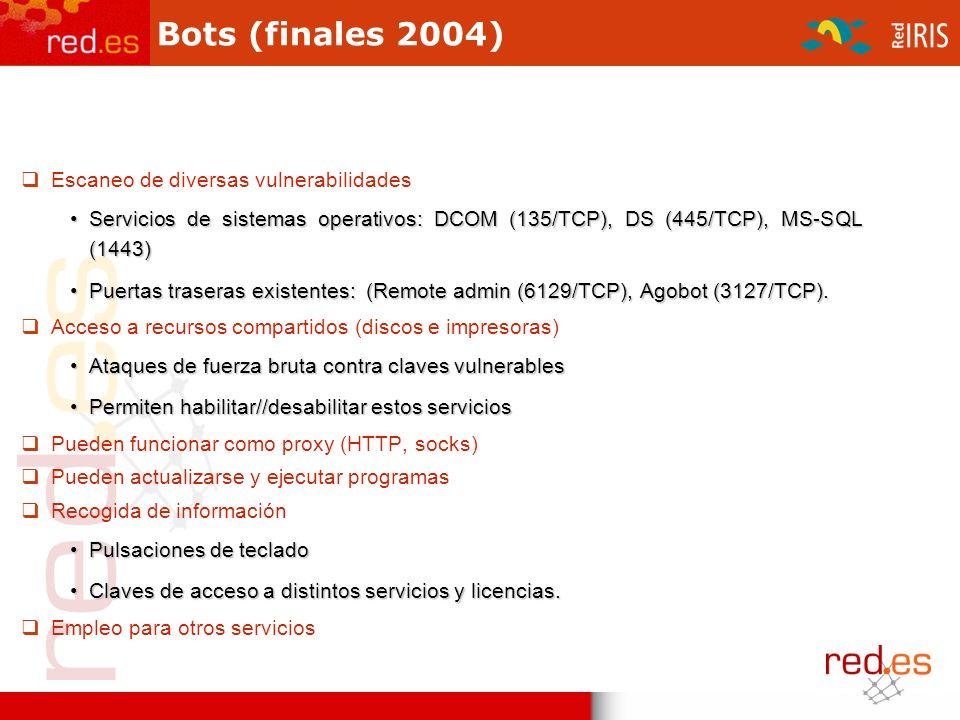 Bots (finales 2004) Escaneo de diversas vulnerabilidades Servicios de sistemas operativos: DCOM (135/TCP), DS (445/TCP), MS-SQL (1443)Servicios de sistemas operativos: DCOM (135/TCP), DS (445/TCP), MS-SQL (1443) Puertas traseras existentes: (Remote admin (6129/TCP), Agobot (3127/TCP).Puertas traseras existentes: (Remote admin (6129/TCP), Agobot (3127/TCP).