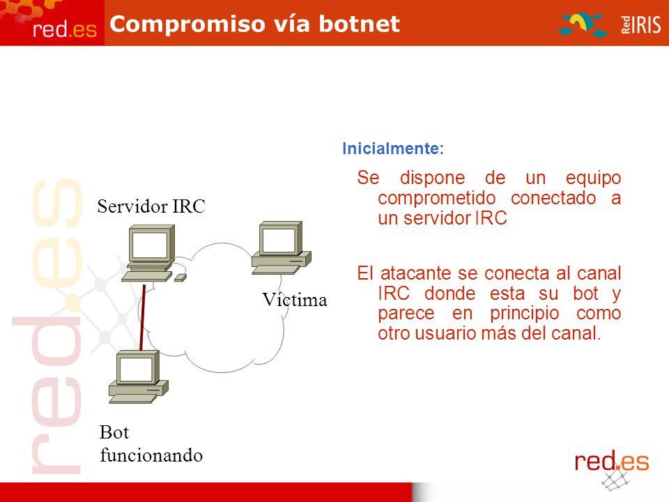 1)Vía IRC el atacante cambia el titulo o topic del canal para que los bots / zombies empiecen a atacar..advscan dcom445 50 0 Bot funcionando Víctima Servidor IRC Compromiso vía botnet (I)