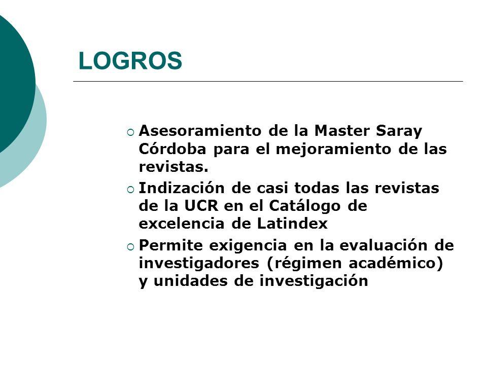 LOGROS Asesoramiento de la Master Saray Córdoba para el mejoramiento de las revistas.
